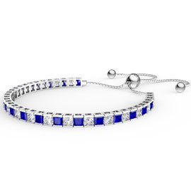 Princess Sapphire CZ Rhodium plated Silver Fiji Friendship Tennis Bracelet