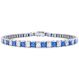 Princess Sapphire 18ct White Gold Tennis Bracelet