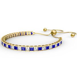 Princess Sapphire CZ 18ct Gold plated Silver Fiji Friendship Tennis Bracelet