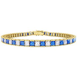 Princess Sapphire 18ct Yellow Gold Tennis Bracelet