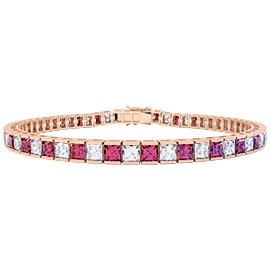 Princess Ruby CZ 18ct Rose Gold Vermeil Tennis Bracelet