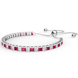 Princess Ruby Platinum plated Silver Fiji Friendship Tennis Bracelet