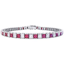 Princess Ruby CZ Rhodium plated Silver Tennis Bracelet