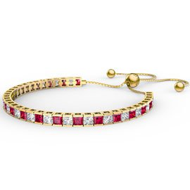 Princess Ruby CZ 18ct Gold plated Silver Fiji Friendship Tennis Bracelet