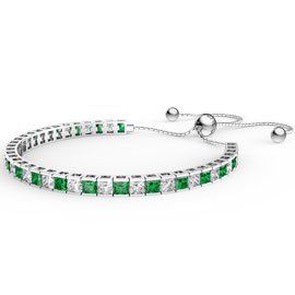Princess Emerald CZ Rhodium plated Silver Fiji Friendship Tennis Bracelet