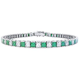 Princess Emerald Platinum plated Silver Tennis Bracelet