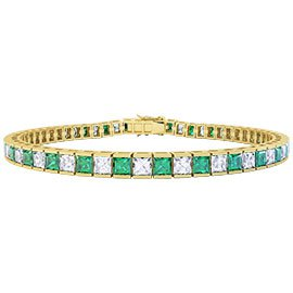 Princess Emerald 18ct Yellow Gold Tennis Bracelet