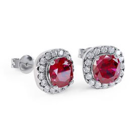 Princess 2ct Ruby Halo 18ct White Gold Stud Earrings