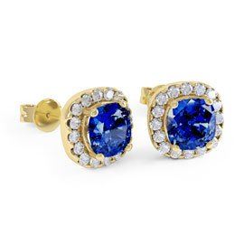 Princess 2ct Sapphire Halo 18ct Gold Vermeil Stud Earrings