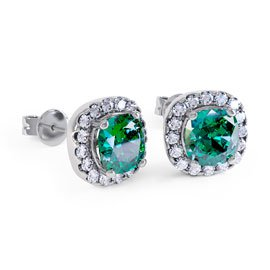 Princess 2ct Emerald Halo 18ct White Gold Stud Earrings