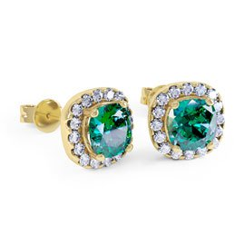 Princess 2ct Emerald Halo 18ct Gold Vermeil Stud Earrings