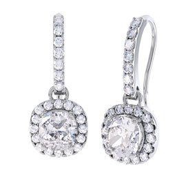 Princess 2ct White Sapphire Halo Platinum plated Silver Pave Drop Earrings