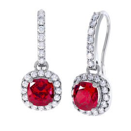 Princess 2ct Ruby Halo 18ct White Gold Pave Drop Earrings