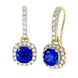 Princess 2ct Sapphire Halo 18ct Yellow Gold Pave Drop Earrings