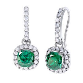 Princess 2ct Emerald Halo 18ct White Gold Pave Drop Earrings