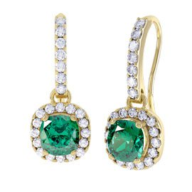 Princess 2ct Emerald Halo 18ct Gold Vermeil Pave Drop Earrings