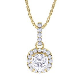 Princess 1ct White Sapphire Halo 18ct Gold Vermeil Pendant