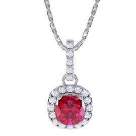 Princess 1ct Ruby and Diamond Halo 18ct White Gold Pendant