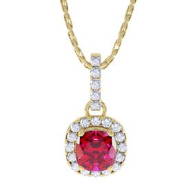 Princess 1ct Ruby Halo 18ct Yellow Gold Pendant