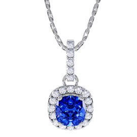 Princess 1ct Sapphire Halo Platinum plated Silver Pendant