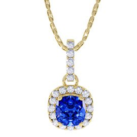 Princess 1ct Blue Sapphire and Diamond Halo 18ct Yellow Gold Pendant