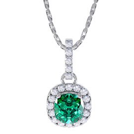 Princess 1ct Emerald and Diamond Halo 18ct White Gold Pendant