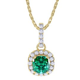 Princess 1ct Emerald Halo 18ct Gold Vermeil Pendant