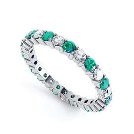 Promise Emerald Platinum plated Silver Full Eternity Ring 2.5mm Band