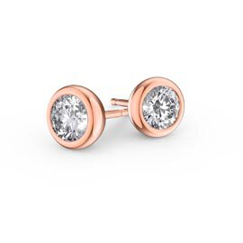 Infinity White Sapphire 18K Rose Gold Vermeil Stud Earrings