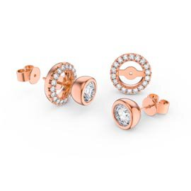 Infinity White Sapphire 18K Rose Gold Vermeil Stud Earrings Halo Jacket Set