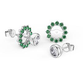 Infinity White Sapphire 10K White Gold Stud Earrings Emerald Halo Jacket Set
