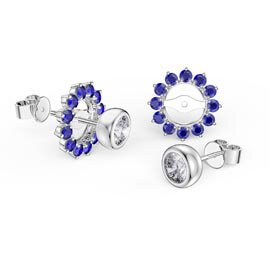 Infinity White Sapphire Platinum plated Silver Stud Earrings Sapphire Halo Jacket Set