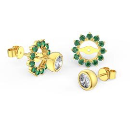 Infinity White Sapphire 10K Yellow Gold Stud Earrings Emerald Halo Jacket Set
