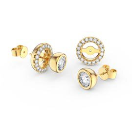 Infinity White Sapphire 10K Yellow Gold Stud Earrings Halo Jacket Set