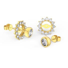 Infinity White Sapphire 10K Yellow Gold Stud Starburst Earrings Halo Jacket Set