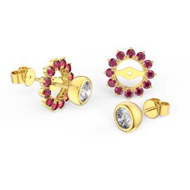 Infinity White Sapphire 10K Yellow Gold Stud Earrings Ruby Halo Jacket Set