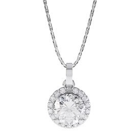 Eternity 0.5ct White Sapphire Halo Platinum plated Silver Pendant