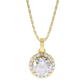 Eternity 0.5ct White Sapphire Halo 18ct Gold Vermeil Pendant