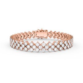 Eternity Three Row Diamond CZ 18ct Rose Gold plated Silver Tennis Bracelet