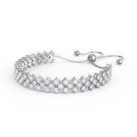 Eternity Three Row Diamond CZ Silver Adjustable Tennis Bracelet