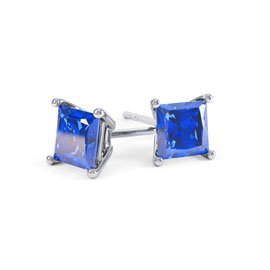 Charmisma 1ct Blue Sapphire Princess Platinum Plated Silver Stud Earrings