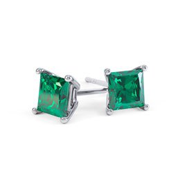 Charmisma 1ct Emerald Princess Platinum Plated Silver Stud Earrings