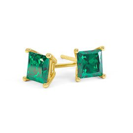 Charmisma 1ct Emerald Princess 18K Gold Vermeil Stud Earrings