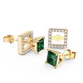 Charmisma Princess Emerald and White Sapphire 18K Gold Vermeil Stud Earrings Halo Jacket Set