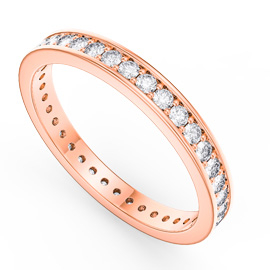 Promise White Sapphire 18ct Rose Gold Channel Full Eternity Ring