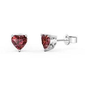 Charmisma 1ct Garnet Heart Platinum plated Silver Stud Earrings