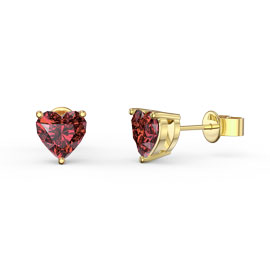 Charmisma 1ct Garnet Heart 18ct Gold Vermeil Stud Earrings
