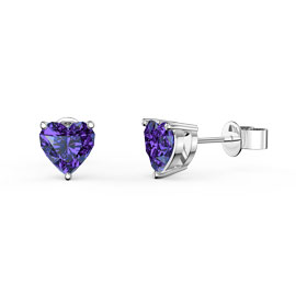 Charmisma 1ct Amethyst Heart Platinum plated Silver Stud Earrings
