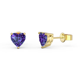 Charmisma 1ct Amethyst Heart 18ct Gold Vermeil Stud Earrings