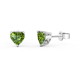 Charmisma 1ct Peridot Heart Platinum plated Silver Stud Earrings